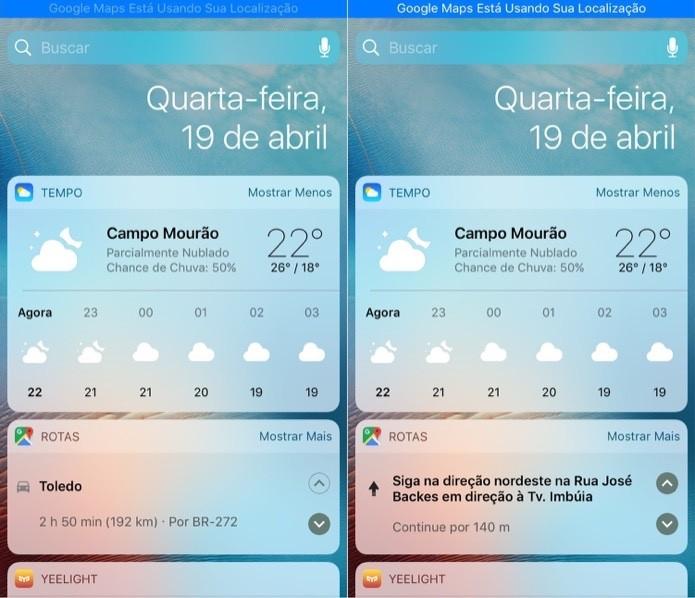 Visualizando informações da rota no widget (Foto: Reprodução/Helito Bijora)