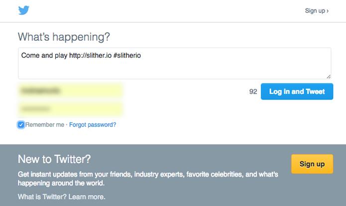 Tuíte o link do Slither.io no Twitter (Foto: Reprodução/Murilo Molina)