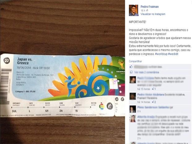 Torcedor potiguar posta foto de ingresso para Japão e Grécia perdido na Arena das Dunas - Natal (Foto: Reprodução/Facebook)