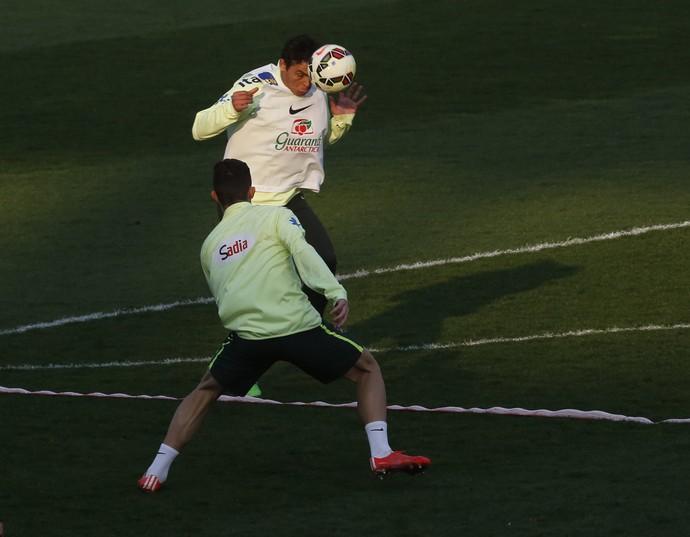 Thiago Silva em treino da seleção brasileira (Foto: Bruno Domingos / Mowa Sports)