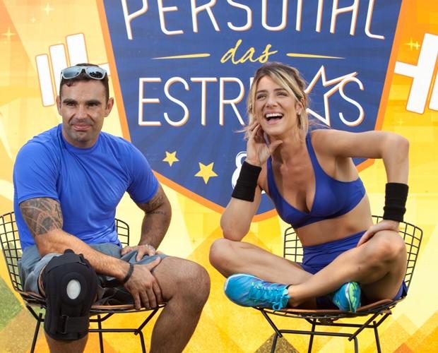 Giovanna Ewbank e o personal Chico Salgado (Foto: Fabiano Battaglin/Gshow)
