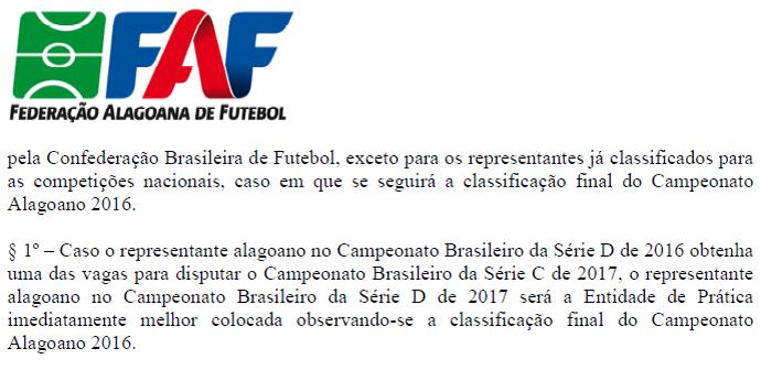 Regulamento Série D - Alagoas (Foto: Reprodução/Federação Alagoana de Futebol)