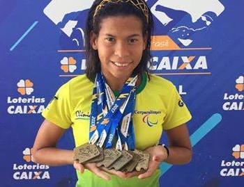 Rebeca Campos conquista seis medalhas de ouro no Circuito Caixa Paralímpico, em Brasília (Foto: Geison Moraes/arquivo pessoal)
