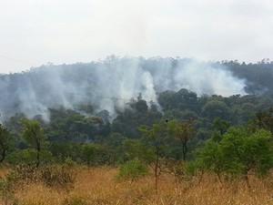 Fumaça encobre uma área no Parque Estadual do Rola Moça neste domingo (18) (Foto: Danilo Girundi/ TV Globo)