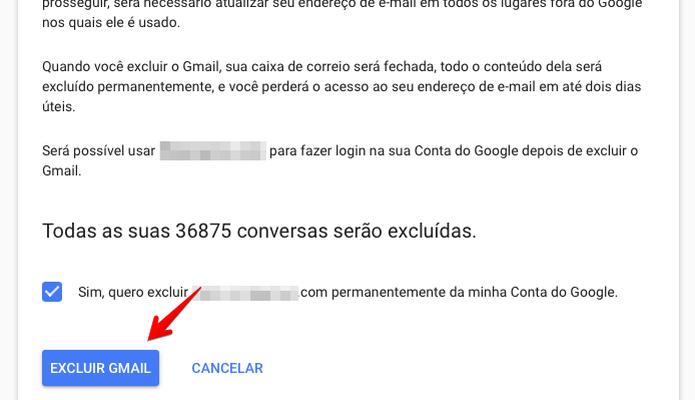 Confirme que deseja apagar o seu Gmail (Foto: Reprodução/Helito Bijora)  (Foto: Confirme que deseja apagar o seu Gmail (Foto: Reprodução/Helito Bijora) )