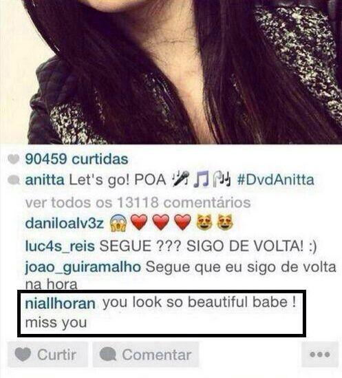 Niall Horan, do One Direction, comenta em foto de Anitta (Foto: Instagram / Reprodução)
