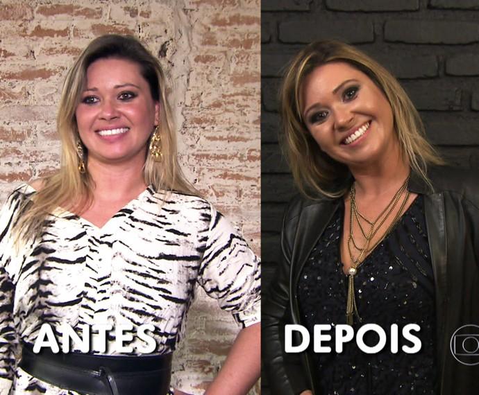 'Você Mais Poderosa': confira o antes e depois da Cristiane (Foto: TV Globo)