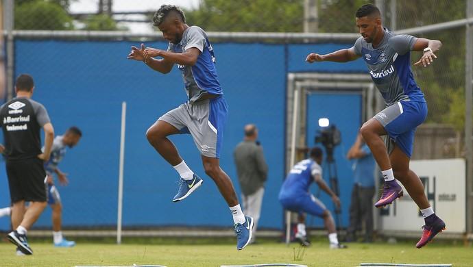 Léo Moura Michel Grêmio (Foto: Lucas Uebel/Grêmio)