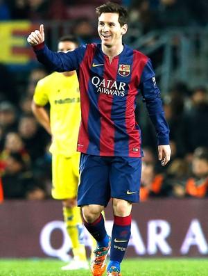 Messi comemora gol do Barcelona contra o Villareal (Foto: Agência Reutes)