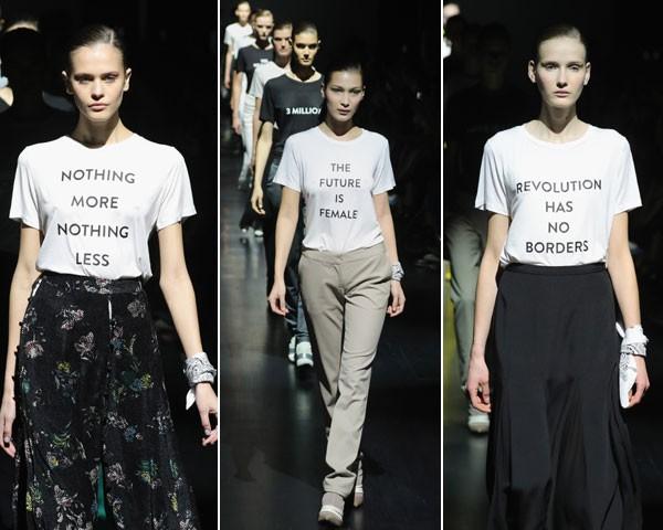 """""""Nada a mais, nada a menos""""; """"O futuro é feminino""""; """"A revolução não tem fronteiras"""" (Foto: Getty Images)"""