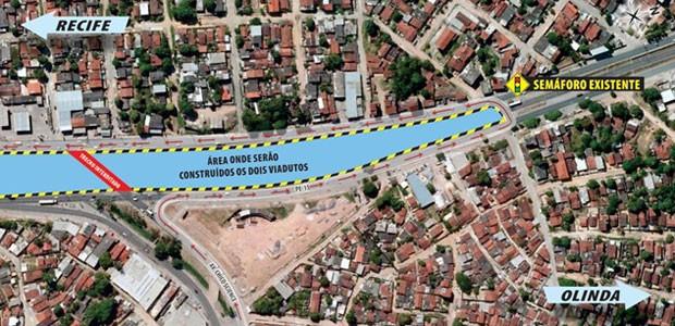 Interdição na Avenida Pan Nordestina modifica trânsito nos Bultrins, em Olinda (Foto: Divulgação/ Secretaria das Cidades)