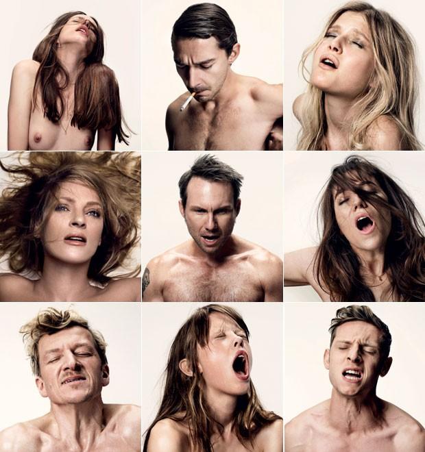 O elenco do filme Ninfomaníaca simula o êxtase nos cartazes (Foto: Divulgação)
