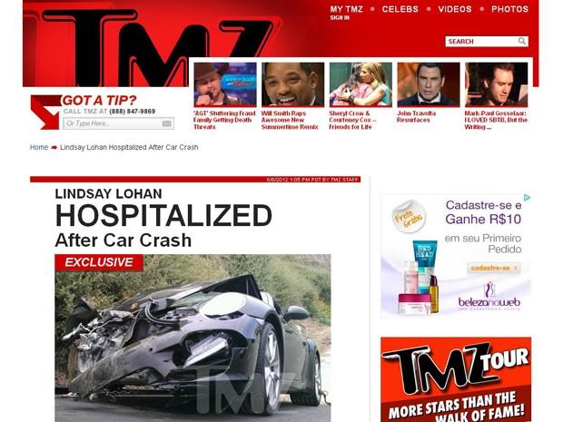 Imagem do carro de Lindsay Lohan após o acidente, publicada pelo site TMZ (Foto: Reprodução)