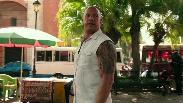O ator Vin Diesel no trailer do próximo 'Triplo X' (Foto: Reprodução)