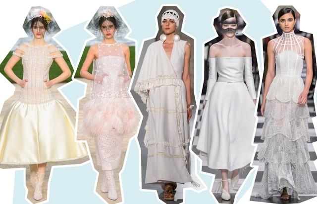Da esquerda para a direita: 1. Chanel – Coleção couture verão 2018 2. Chanel – Coleção couture verão 2018 3. Christophe Josse – Coleção couture verão 2018 4. Dior – Coleção couture verão 2018 5. Dior – Coleção couture verão 2018 (Foto: ImaxTree e Getty Images)