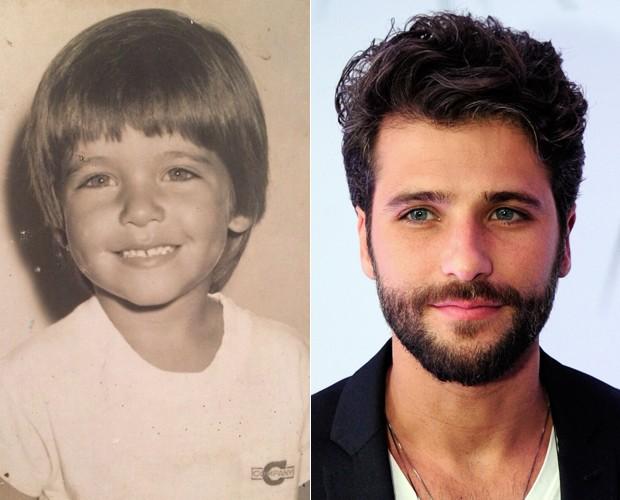 Bruno Gagliasso já chamava atenção pelos belos olhos azuis (Foto: Arquivo Pessoal e Estevam Avelar / TV Globo)