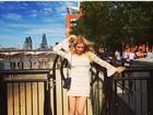 Fiorella Mattheis posa de vestido curtinho em Londres
