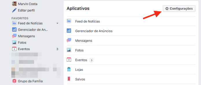 Acesso às configurações de aplicativos do Facebook (Foto: Reprodução/Marvin Costa)