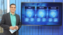Telão interativo é novidade na previsão do tempo. Saiba mais (Tháis Fraga/ TV Rio Sul)