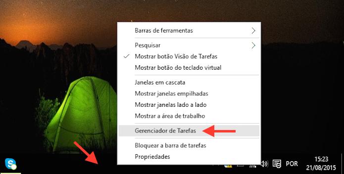 Acessando o Gerenciador de Tarefas do Windows 10 (Foto: Reprodução/Marvin Costa)