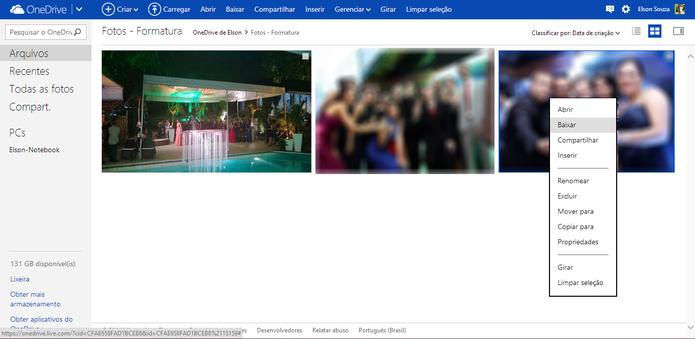 Arquivos do OneDrive também podem ser baixados através de atalhos como na interface do Windows (Foto: Reprodução/Elson de Souza)