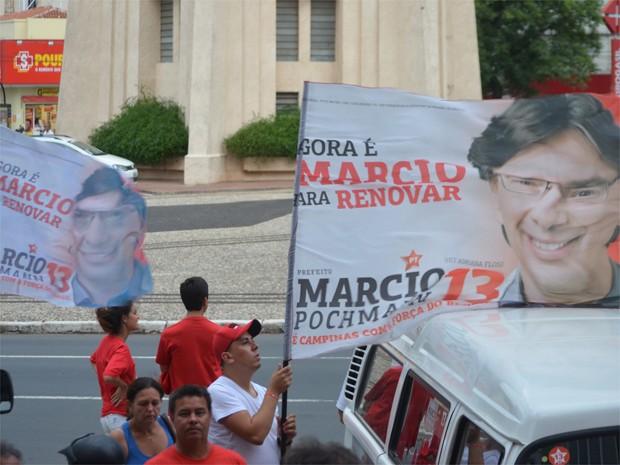 Militantes no comitê de Marcio Pochmann (Foto: Fernando Pacífico / G1)