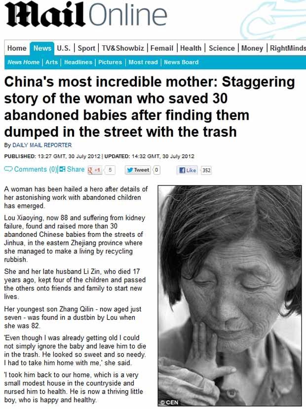 A chinesa Lou Xiaoying, hoje com 88 anos, que tirou das ruas mais de 30 recém-nascidos (Foto: Reprodução / Daily Mail)