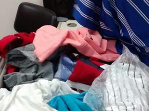 Polícia recupera cerca de R$ 5 mil em camisetas roubadas em Alfenas (MG) (Foto: Polícia Civil)