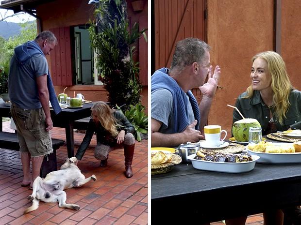 Angélica grava com Luiz Fernando Guimarães no sítio do ator (Foto: Estrelas / TV Globo)