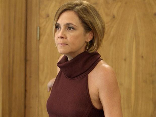 Inês diz que não vai aceitar o rival na empresa (Foto: TV Globo)