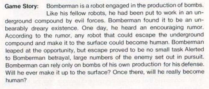 Manual da versão de NES dizia que Bomberman desejava se tornar humano (Foto: Reprodução / gamesdbase.com)