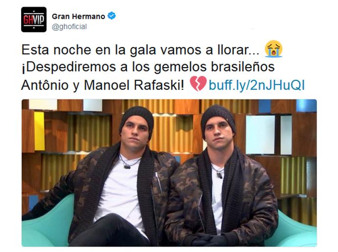 Twitter oficial do Gran Hermano fala da saída dos gêmeos (Foto: Twitter @ghoficial)