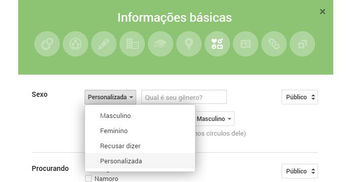 Usuários vão poder personalizar gênero na rede social (foto: Reprodução/Google+)