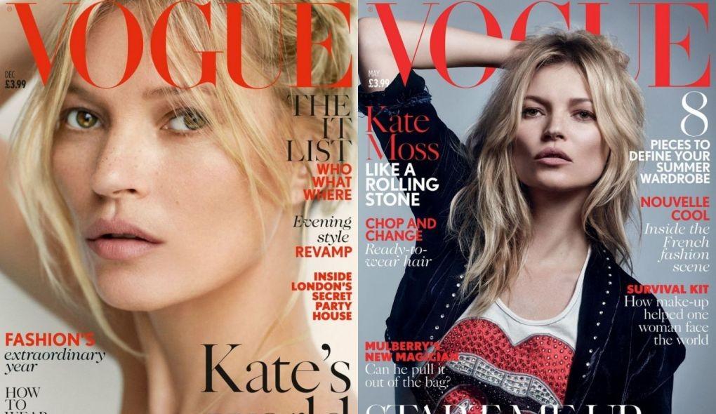 1- Vogue Londres Dezembro 2014 / 2 - Vogue Londres Maio 2016 (Foto: reprodução)