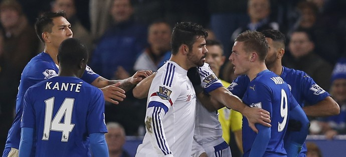 Jamie Vardy Leicester e Diego Costa Chelsea (Foto: Reuters)