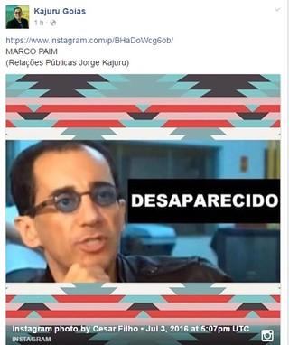 Post no perfil oficial de Jorge Kajuru no Facebook (Foto: Reprodução/Facebook)