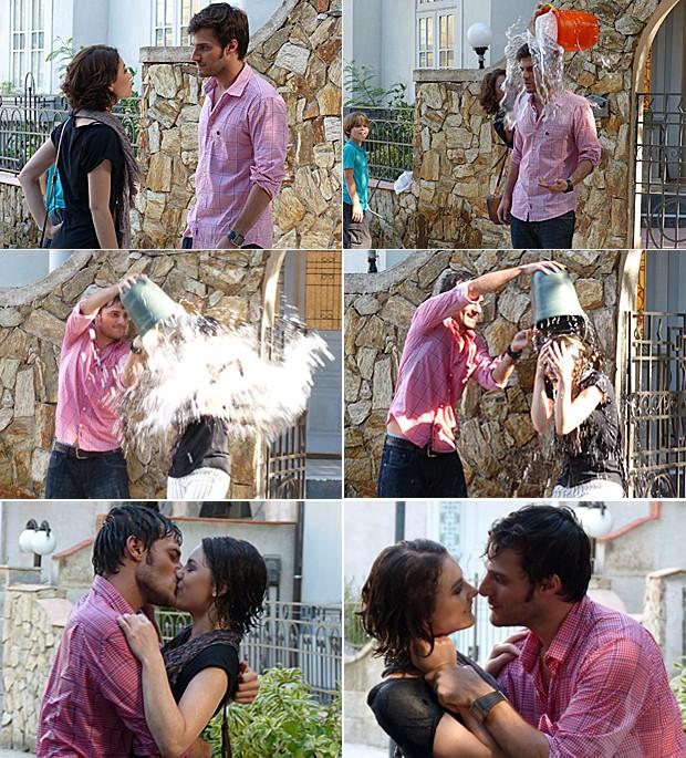 Micaela e Martin se beijam muuuuuuito em frente ao casarão (Foto: Malhação / TV Globo)