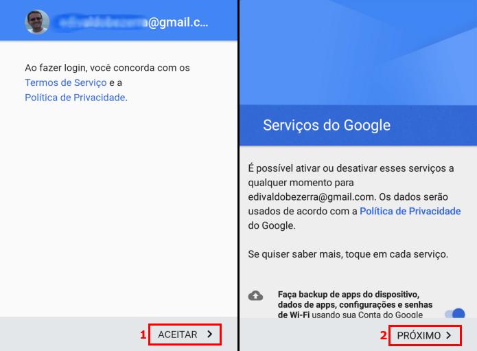 Aceitando os termos de uso e ativando serviços da conta Google (Foto: Reprodução/Edivaldo Brito)