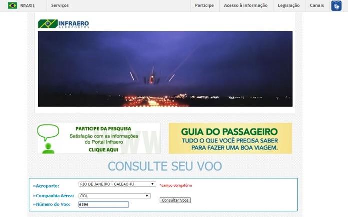 Infraero busca voos de acordo com o aeroporto (Foto: Reprodução/Daniela Ferrari)