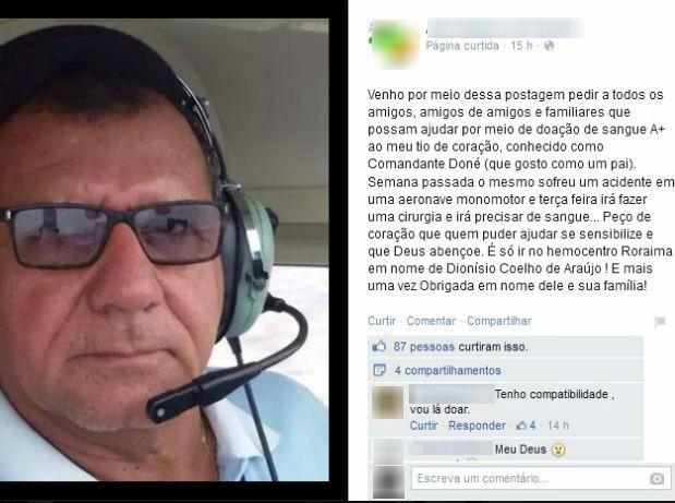 Amigo fez post no Facebook para pedir que pessoas doem sangue à vítima do acidente com avião (Foto: Reprodução/ Facebook)