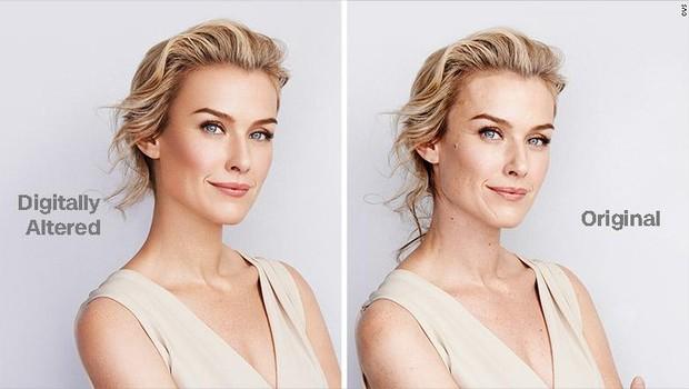 À esquerda, a foto está retocada e está sem edição à direita (Foto: Divulgação / CVS) (Foto: Divulgação / CVS)