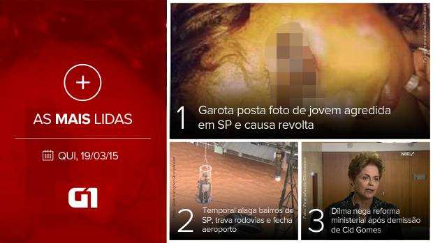 Mais lidas: 19/03/2015 (Foto: G1 sobre Reprodução/Facebook e Reprodução/Globonews)