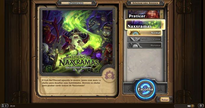 Maldição de Naxxramas possui três modos: Básico, Desafio de Classe e Heroico (Foto: Reprodução / Dario Coutinho)