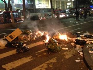 Fogo em sacos de lixo na Avenida Ipiranga (Foto: Marcelo Mora/G1)