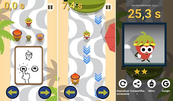 Corrida do morango é controlado pelo toque no canto da tela do celular (Foto: Reprodução/Elson de Souza)