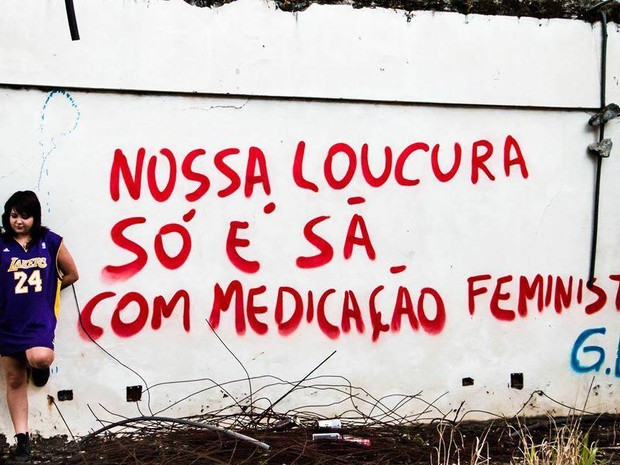 Além de amor, pichadora também fala sobre feminismo (Foto: Leonardo Schenato Barroso/Arquivo pessoal)