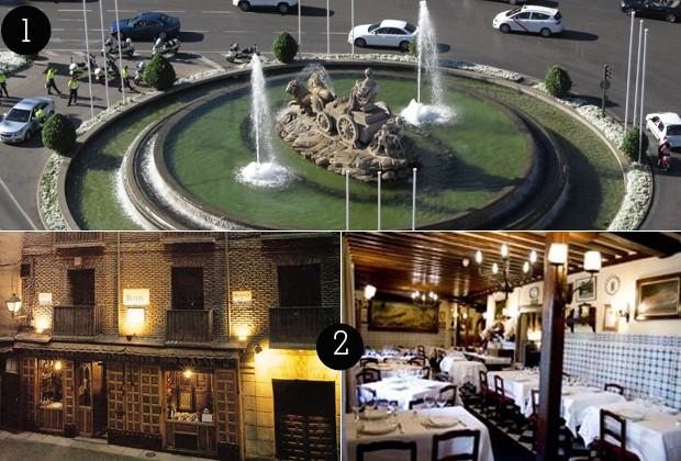 1. Vista do Mirante CentroCentro para a Plaza das Cibeles; 2. Restaurante Botín (Foto: Rafael Sette Camara/ 360 meridianos/ Reprodução)