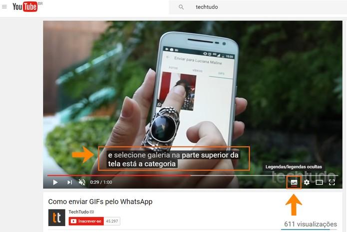 Veja que a legenda será ativada no vídeo do YouTube (Foto: Reprodução/Barbara Mannara)