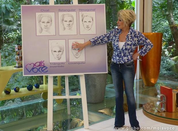 Visagismo: Ana Maria mostra os diferentes formatos de rosto (Foto: Mais Você / TV Globo)
