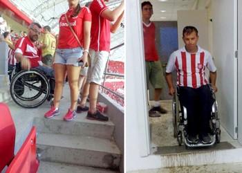 Montagem dos cadeirantes que reclamam do novo Beira-Rio (Foto: Arquivo pessoal)